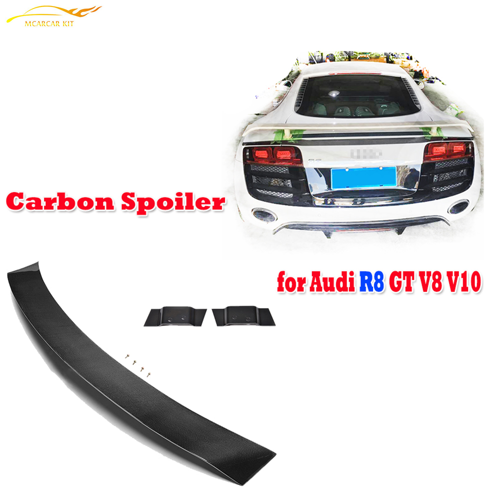 R8 Carbon Fiber Rear Trunk Boot Wing Spoiler for Audi R8 GT V8 V10 2008 -2015 Auto Tail Lip Wing Spoiler Car Styling