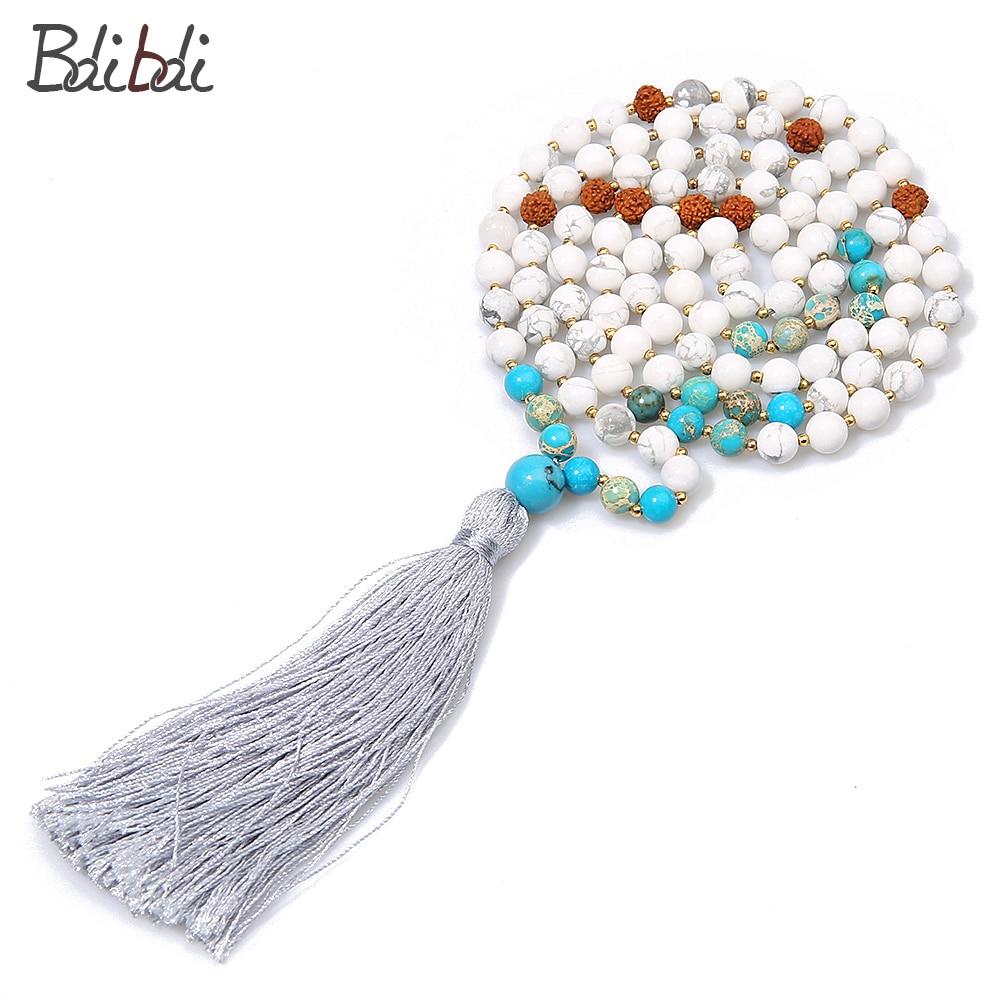 Balibali Bodhi & Natural Stone Beads Mix Beaded Handmade Choker Neklace Charm Grey Tassel Ethnic Long Necklace