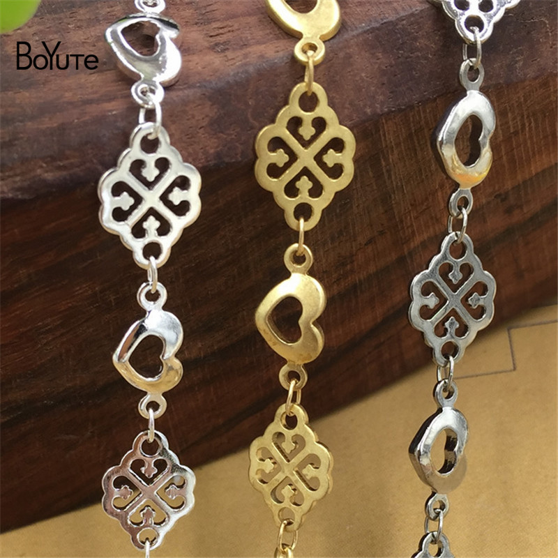 BoYuTe 2 Meters Copper Brass Metal Hand Made Chain White K Silver Chain Diy Jewelry Findings Components