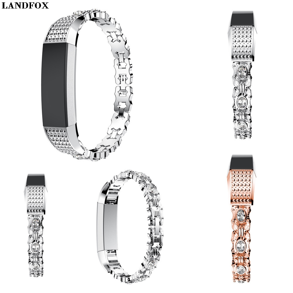 LANDFOX Stainless Steel Crystal Watch Band Wrist strap For Fitbit Alta HR/Fitbit Alta Smart Replacement WristBand Bracelet New F
