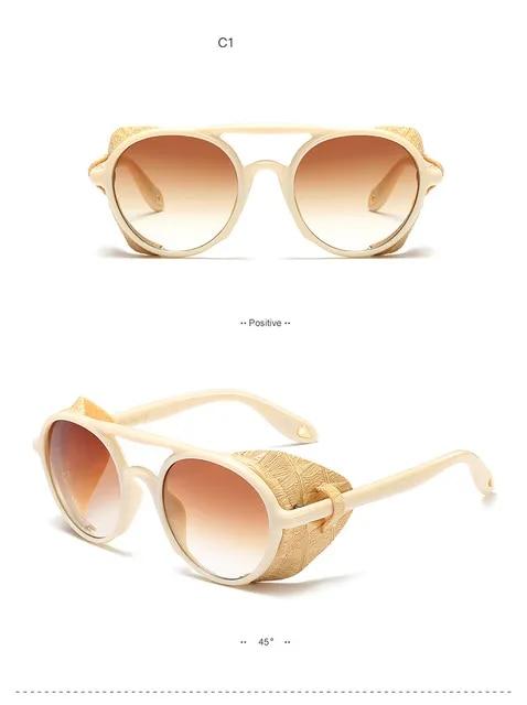 Steampunk Sunglasses Leather Side Men Brand Design 2019 Vintage Retro Gothic Shield Cool Round Sun Glasses Women Shades OM866