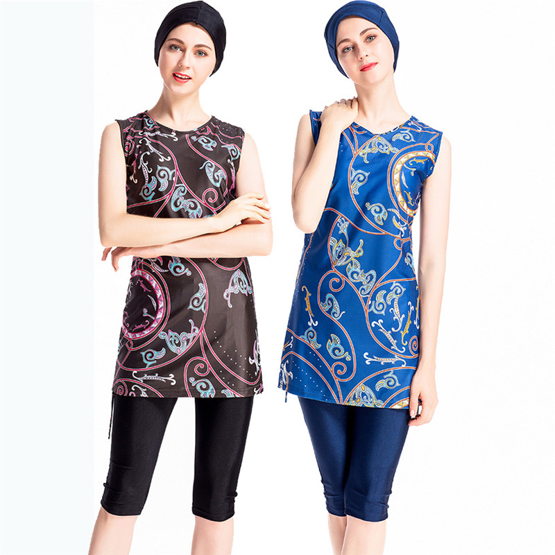 Printed Sleeveless Muslim Swimwear Conservative Ladies Swimwear Hooded Three piece Islam Burkinis Beachwear Swimsuit in Muslim Swimwear from Sports Entertainment