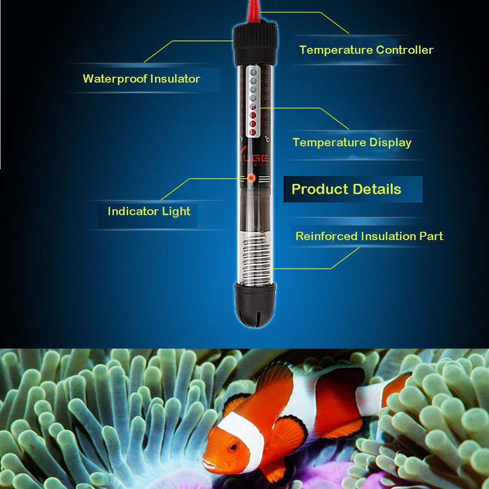 25w 50w/100w/200w/300w EUPlug Aquariums Heater Durable Submersible Heater Heating Rod Aquarium Glass Fish Temperature Adjustment