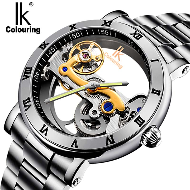 IK färgmärke Märke Luxury Sport Watch Fashion Casual Stainless Steel Watch Mens Automatiska Skelett Mekaniska Armbandsur
