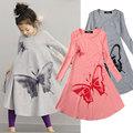 Butterfly Girl Dresses Cotton Baby Girls Clothing Spring Mid Calf Nine Sleeves Style Children Clothes Gray/Pink 2 Colors