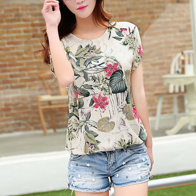 EFINNY Floral Print Summer   Blouses     Shirts   Women Chiffon Top Loose Blusa Mujer Fashion Korean   Blouse   Tops