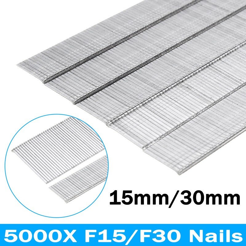 Doersupp 5000Pcs Straight Nailer Penumatic Strip Nails F15/F30 Straight Nailer Steel Power Tools Accessories For DIY Carpentry