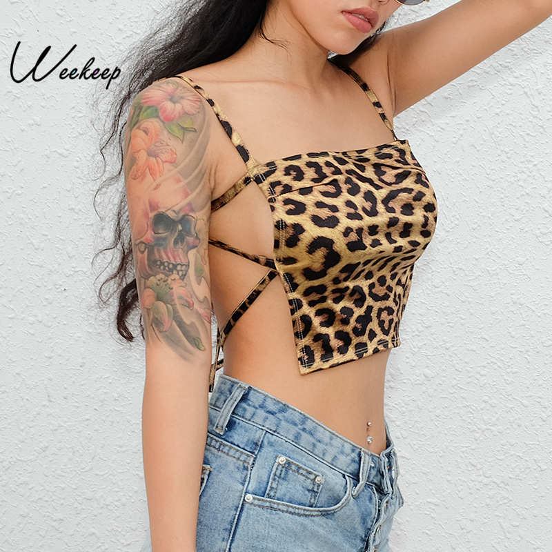 Weekeep Sexy Backless Leopard Tank Top Women Cropped Party Clubwear Tank Tops Womens Fashion Slim Waist Tops-in Tank Tops from Women's Clothing