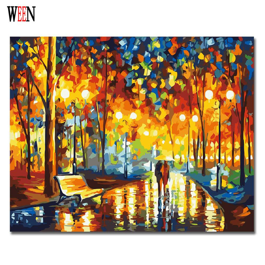 Couple Walking Painting by numbers DIY Hand Painted in the rain Pictures Canvas Arts Coloring by numbers For Living Room Decor