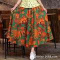 Bohemia Women Long skirt Red autumn leaves printtng linen cotton Lady skirt Women clothes