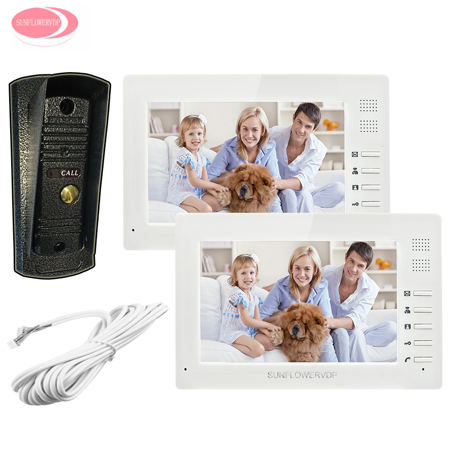 7inch TFT Color LCD Video Door Phone 2 Monitors + Night Vision Metal Waterproof Camera Home Video Phone Intercom on The Gate Kit 7inch tft touch key lcd screen color video door phone doorbell intercom system 700tvl night vision waterproof camera doorphone