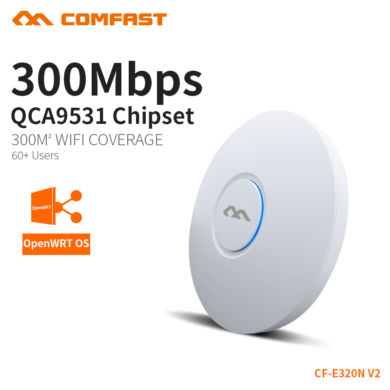 COMFAST 300Mbps Wireless Access Point Ceiling AP WIFI Router WIFI Repeater WIFI Extender High Power Support VLAN PoE openWRT lafalink pw300s48c 300mbps 2 4g wireless inwall poe access point 48v wifi extender