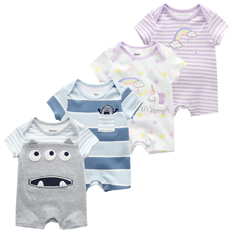 New Baby Rompers Newborn Infant Baby Boy Girl Summer Clothes Roupas De Bebe Short Sleeve Jumpsuits 3-9M Baby Pajamas Clothing