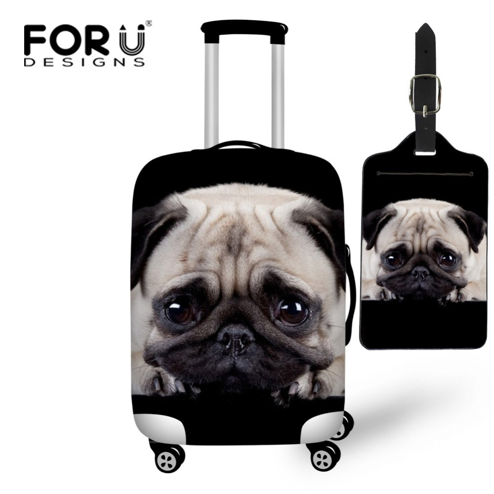 FORUDESIGNS Puppy Pug Dog Print Travel Luggage Protective Cover Elastic Dust Bags Fit 18