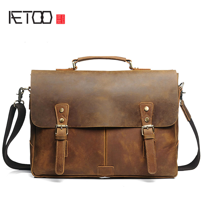 AETOO The first layer of crazy horse cowhide briefcase men handbag cross section shoulder bag Messenger bag retro leather male b men s leather oblique cross chest packs of the first layer of leather deer pattern men s shoulder bag korean fashion men s bag