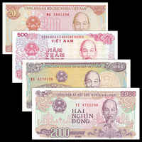 Vietnam Viet Nam 4 PCS, 200+500+1000+2000 Dong, Banknotes Set, UNC, Collection, Gift, Genuine, original real paper notes