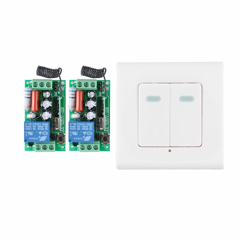Digital Remote Control Switch AC220V 2 Receiver Wall Transmitter Wireless Power Switch 315MHZ Radio Controlled Switch Relay 2 port digital wireless remote control wall switch white silver