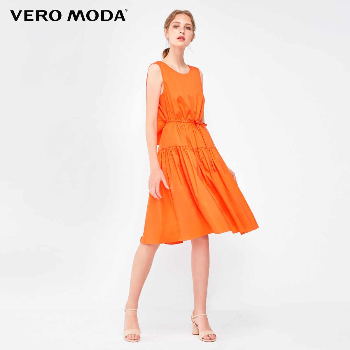 Vero Moda/летние миди-платья трапециевидной формы без рукавов с декоративным шнурком 2019 | 31837A512