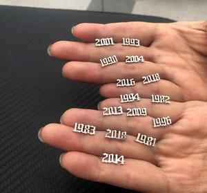 Jisensp New Fashion Stainless Steel Earrings Unique Design Year Nemebr Stud Earring Fashion Jewelry for Women Men Birthday Gift