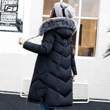 Fitaylor New Winter Cotton Coat Women Slim Large Fur Collar Hooded Parkas Medium Long Padded Warm Thickness Overcoat Outwear
