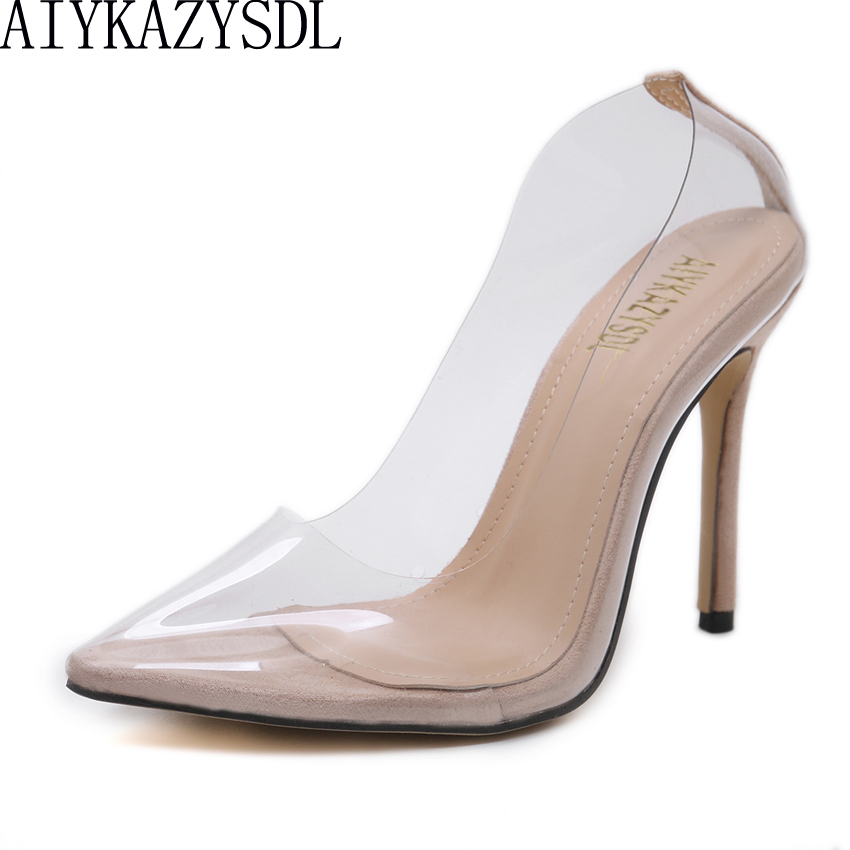 AIYKAZYSDL Sexy Women Close Pointed Toe Pumps PVC Clear Transparent Ultray High Heel Stilettos 2018 Wedding Dress Court Shoes