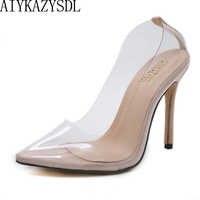 f483cf441c AIYKAZYSDL Sexy Women Close Pointed Toe Pumps PVC Clear Transparent Ultray  High Heel Stilettos 2018 Wedding Dress Court Shoes