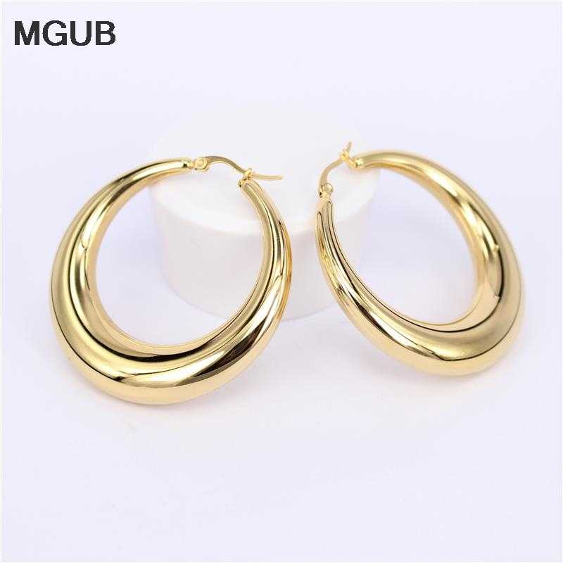 MGUB Two-color Gold color Women Gift Sale Fashion Jewelry Stainless Steel Wives Round Fancy Hoop Earrings HY1