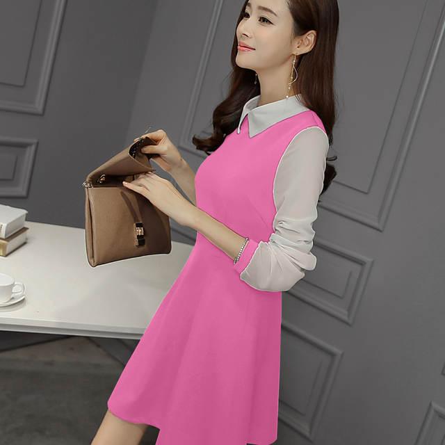 Online Shop Plus Size Women s Summer Peter Pan Collar Dress Women Patchwork  Dresses Keen Length Casual Dress Full Sleeve Dresses Vestidos  891984c9dd9e