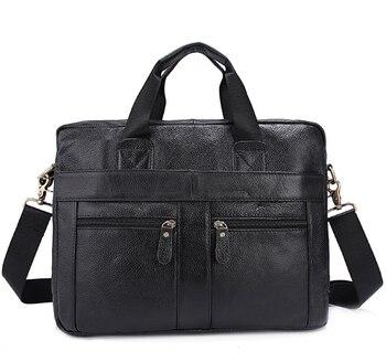 """Genuine Leather Men Bag Men Messenger Shoulder Bags Men's Crossbody Bag Men's Briefcase Leather Laptop Bags 14"""" Handbag Briefcases"""