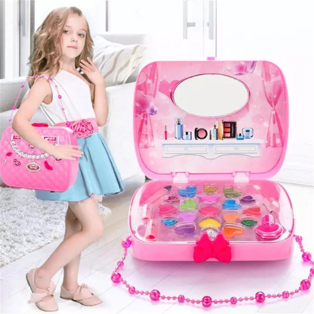 Beauty & Fashion Toys Kids Make Up Toy Set Pretend Play Princess Pink Makeup Safety Non-toxic Kit Girls Dressing Cosmetic game image