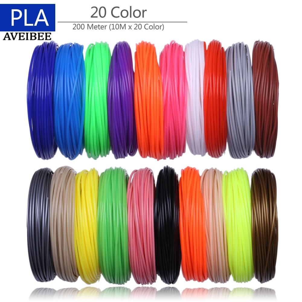200 Meter 20 Color Set 3D Pen Filament PLA 1.75mm Plastic Rubber Printing Material For 3 D Printer Pen Refills Brithday Gift 1 75mm pla 3d printer filament printing refills 10m