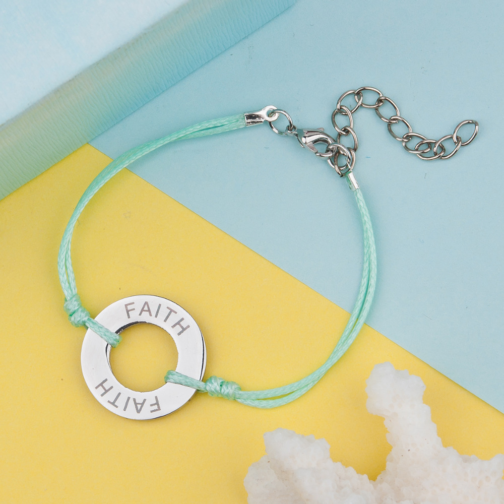 DoreenBeads 304 Stainless Steel Inspire Bracelets Dull <font><b>Silver</b></font> Color <font><b>Circle</b></font> <font><b>Charms</b></font> Message Carved 15.5cm long, 1 Piece
