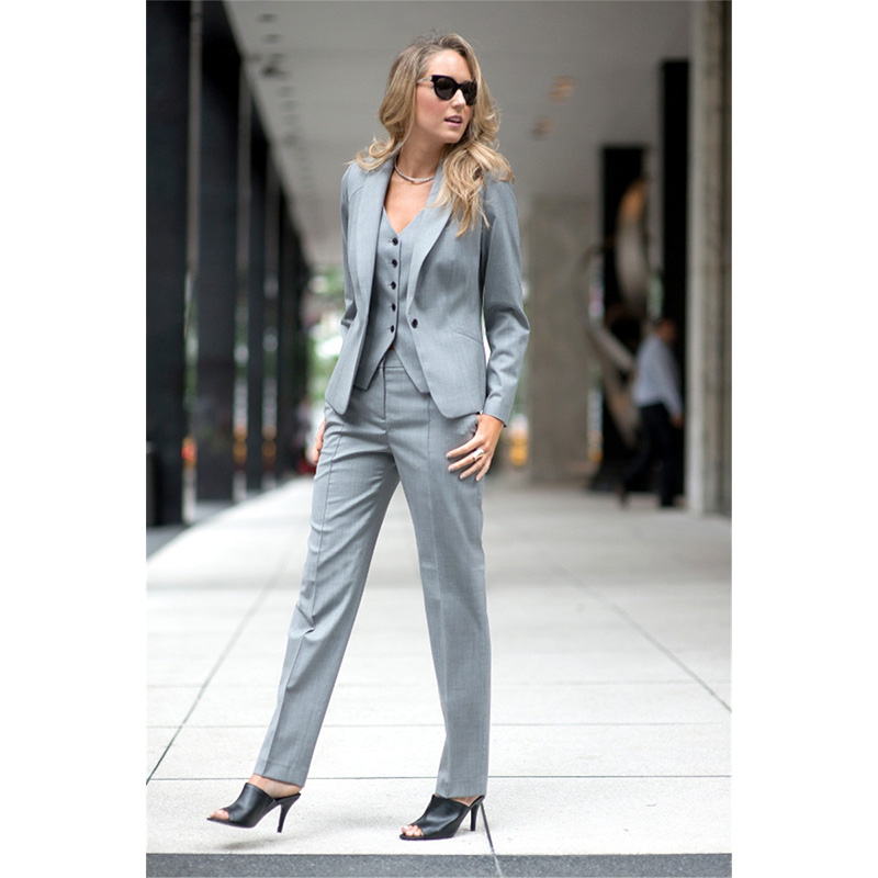 204 Fashion Elegant Formal Work Wear Pant Suits Slim 2 Piece Sets Womens Business Suits Blazer Female Trousers Suit Office Uniform
