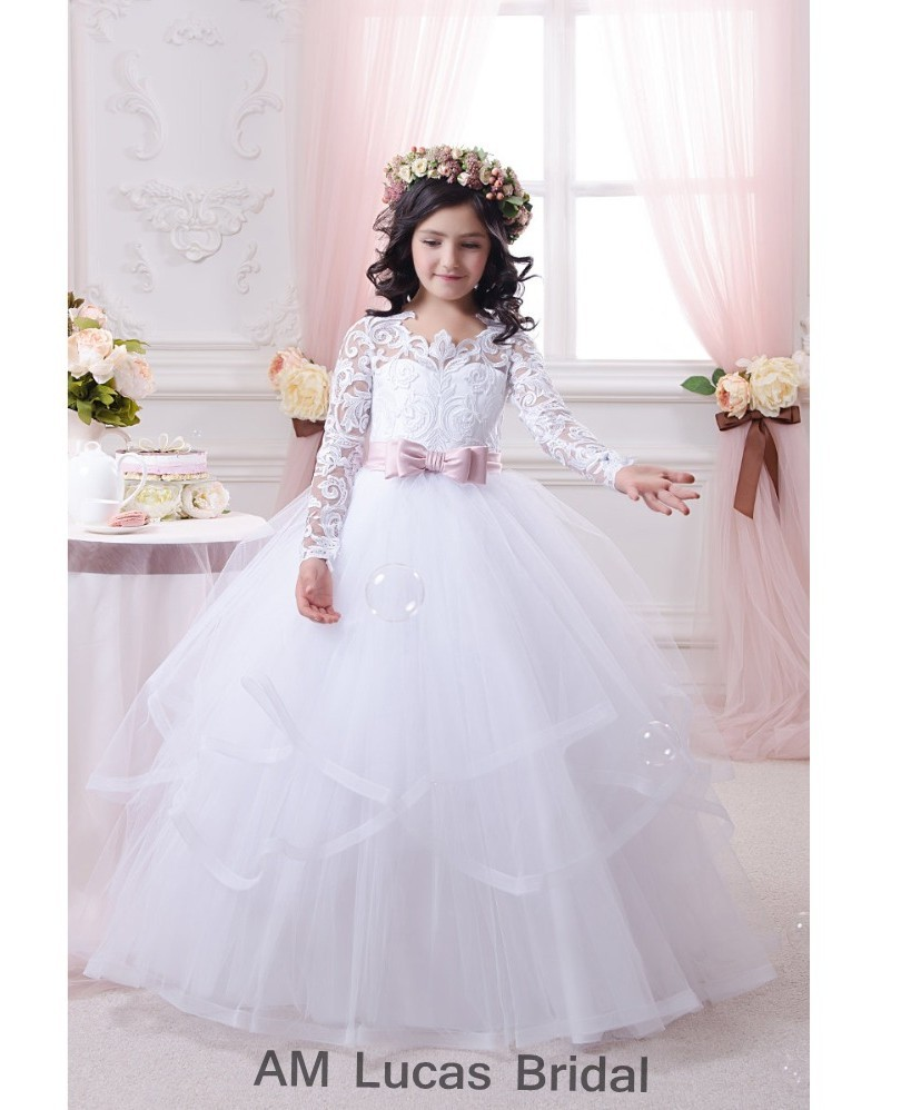 Popular Long Sleeve Communion Dresses-Buy Cheap Long