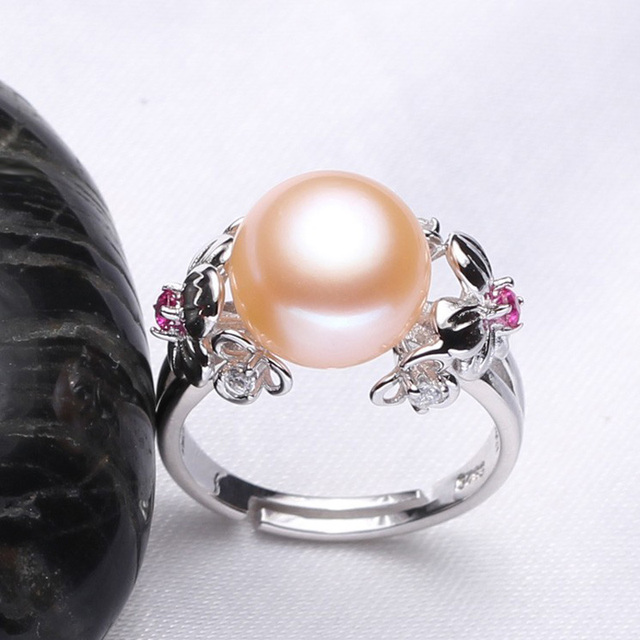 FENASY  10-11mm Pearl Jewelry,natural Pearl rings for love,Freshwater Pearl 925 Silver ring,ruby silver rings for women gift box