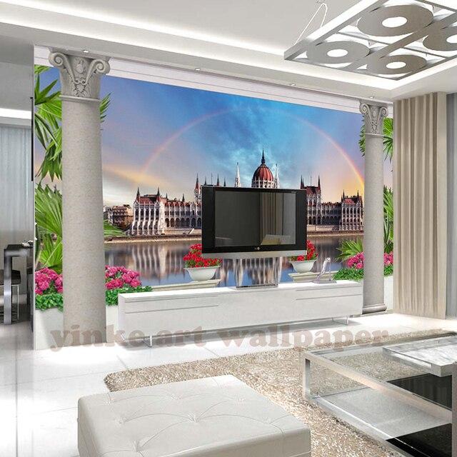 3D Modren Stadt Wandbild Tapete Schlafzimmer Balkon Fenster Landschaft  Benutzerdefinierte 3D Moderne Tapeten Wandbild Papel De