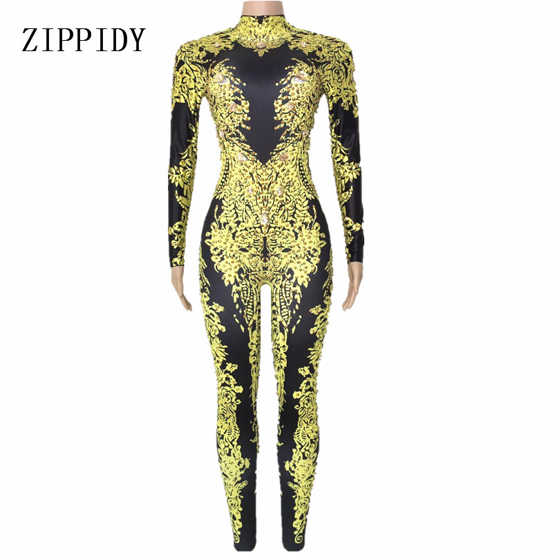 Women Sexy Gold Rhinestones Jumpsuit Performance Outfit Female Singer Leggings Nude -1384