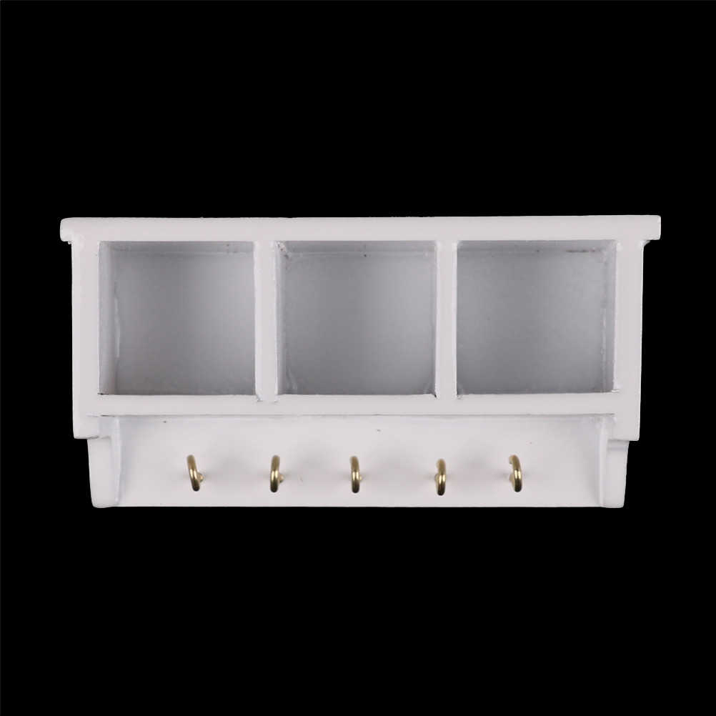 1/12 Dollhouse Miniature Furniture Kitchen White Wood Wall Rack Shelf With Hook Pretend Play House Toys for Kids Children