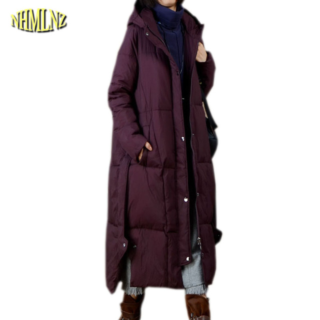 e356e5c38 US $165.8 |2019 Women Jacket New Fashion Winter Coat Casual Large Size Slim  Long Overcoat Hooded Female Thick Warm Down Cotton Jacket OK631-in Parkas  ...