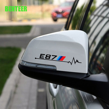 2pcs power motorsport E30 E34 E36 E39 E46 E60 E87 E90 LOGO car rearview mirror sticker for BMW image