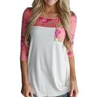Women Loose Cotton Tops Flower Print T Shirt Vintage Long Sleeve Shirt Casual Female Tee Tops