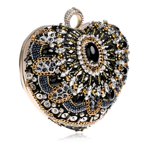 Image 3 - SEKUSA Heart Women Bag Finger Ring Diamonds Purse Clutch Chain Shoulder Emroidery Messenger Bag Beaded Rhinestones Weeding Bag