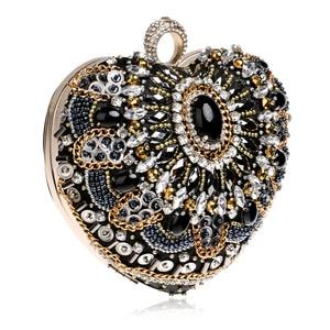 Image 3 - SEKUSA לב יהלומי טבעת אצבע נשים תיק כתף ארנק שרשרת מצמד תיק שליח תיק חרוזים Rhinestones לנכש Emroidery