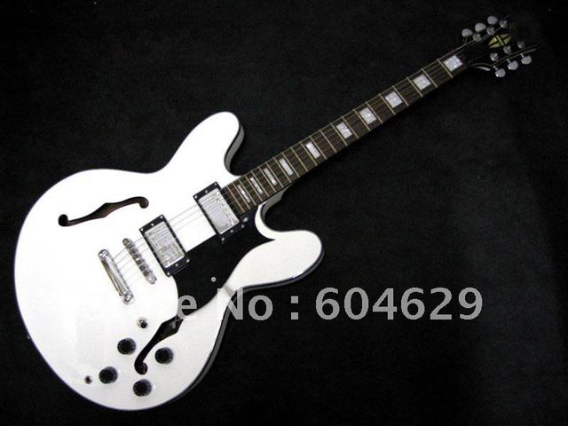 actory Promotions Musical Instruments Custom Hollow body white Electric Guitar