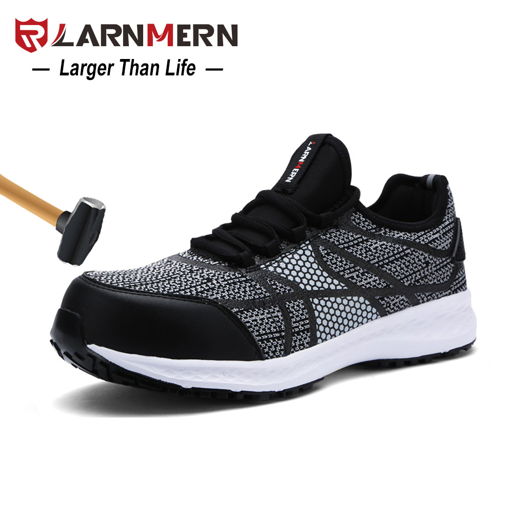LARNMERN Men Safety Shoes Steel Toe Work Shoes Ultra Lightweight Breathable Sneaker Reflective stripe Fly Fabric