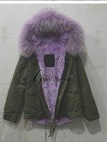 Высокое качество Для женщин большой капюшоном Фиолетовый искусственной меховой воротник утолщаются Ourwear Мех животных пальто роскошный Сти