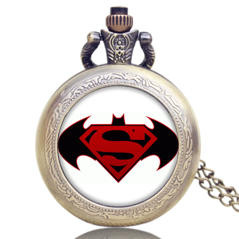 Antique Batman VS Superman Design Bronze Pocket Watch High Quality Fob Watch With Chain Necklace Men Women Christmas Gits