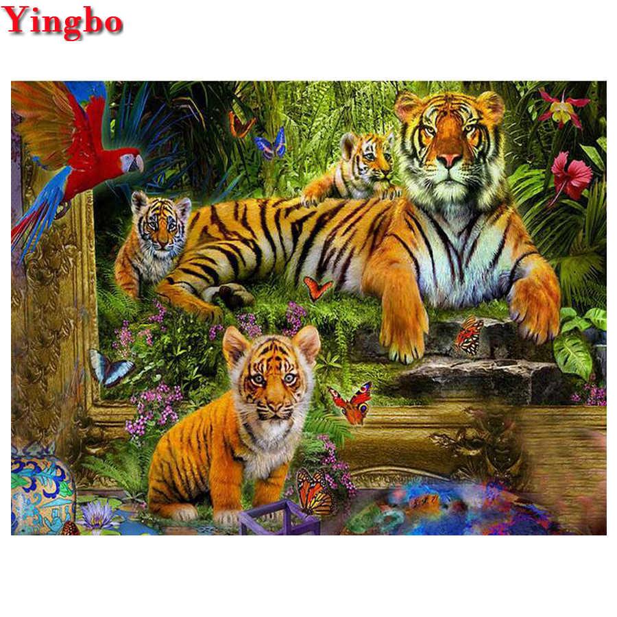 Cuadro de diamantes con diseño de pájaro con diseño de tigre de bosque, completamente con iconos, DIY bordado de diamantes, taladros redondos cuadrados completos 5d, mosaico de diamantes de imitación