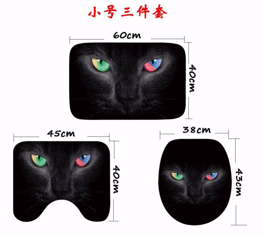 Image 4 - CAMMITEVER 3PCS/Set Cute Cats Shower Bath Mat Toilet Lid Cover Non Slip Mat Carpet Water Absorbent-in Rug from Home & Garden