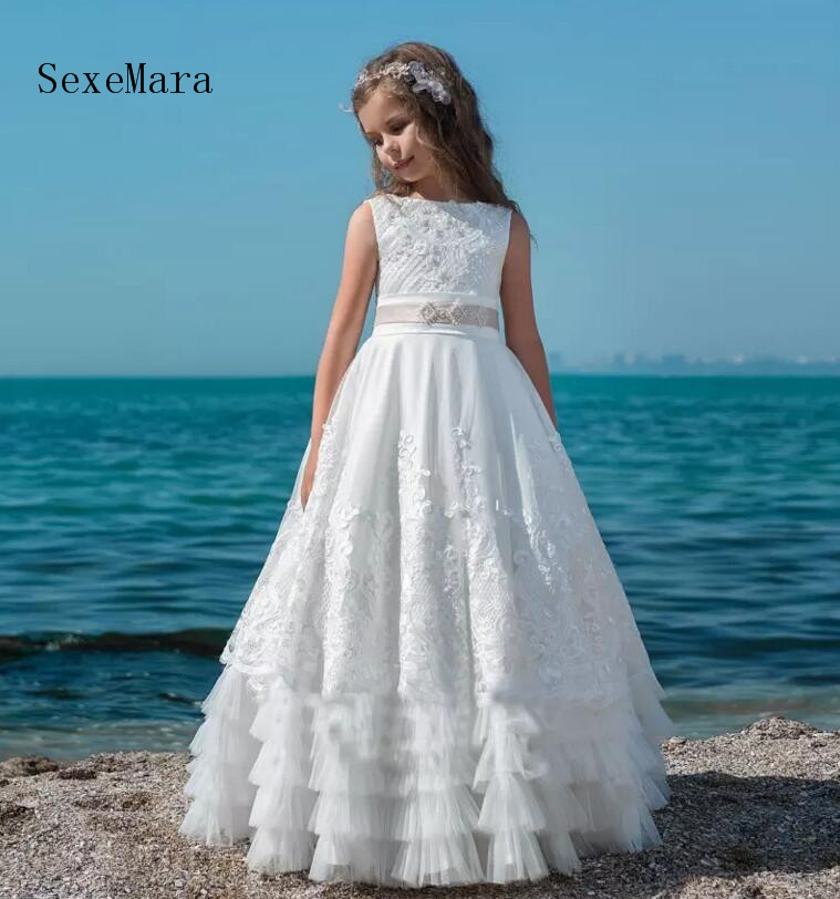 Princess Flower Girl Dresses For Weddings Lace Applique Sash Floor Length Tiered Tulle First Communion Dress Special Occasion hot sale scoop lace applique a line full length tulle long sleeves flower girl dresses for weddings first communion dress gowns
